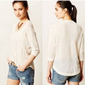 Anthropologie MOTH Crochet Ivory Sweater